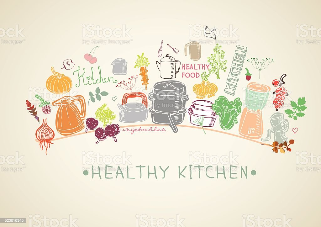 hand drawn kitchen set vector art illustration