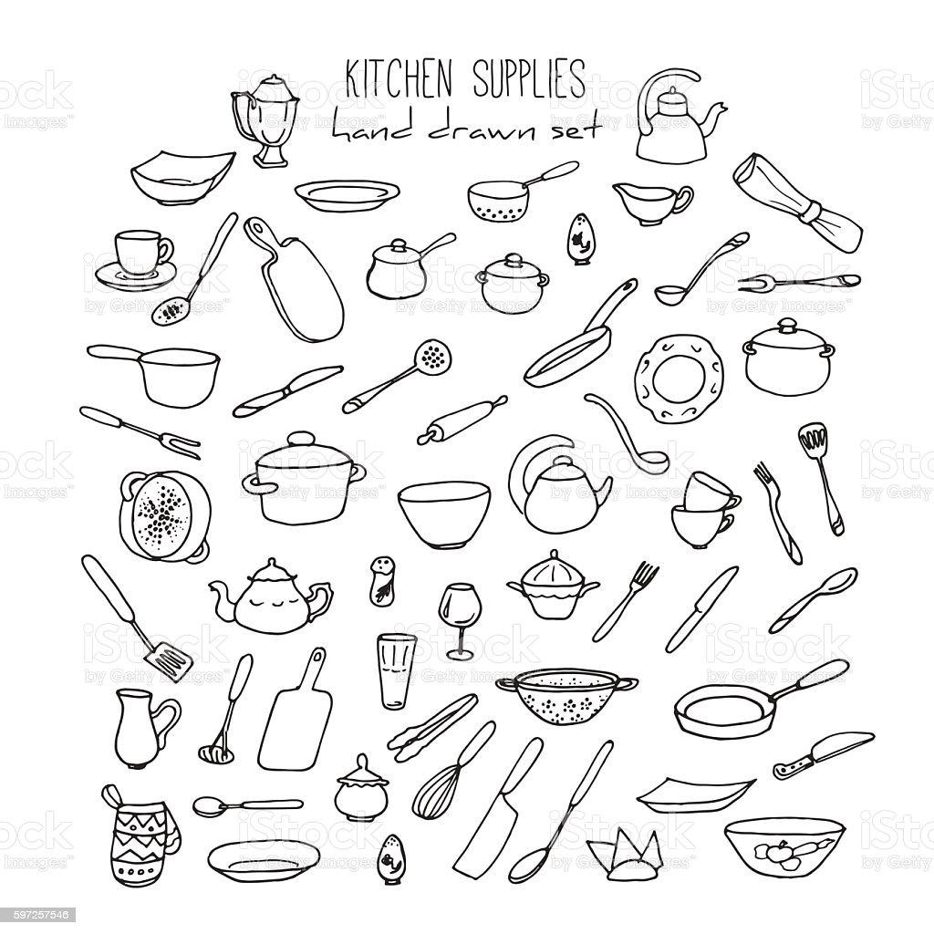 Kitchen tools drawing - Hand Drawn Kitchen Tools Set Kitchenware Vector Illustration Royalty Free Stock Vector Art