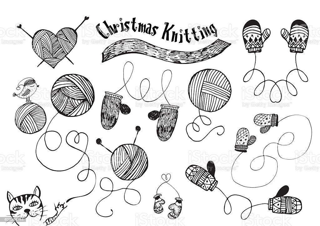 Hand drawn knitting, mittens doodles vector art illustration