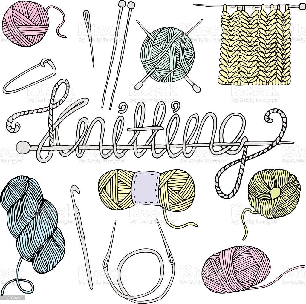 Hand drawn knitting set vector art illustration