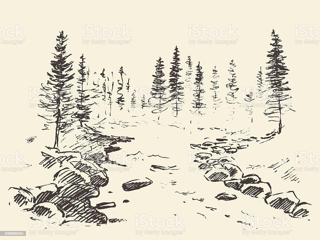 Hand drawn landscape river forest vintage vector. vector art illustration