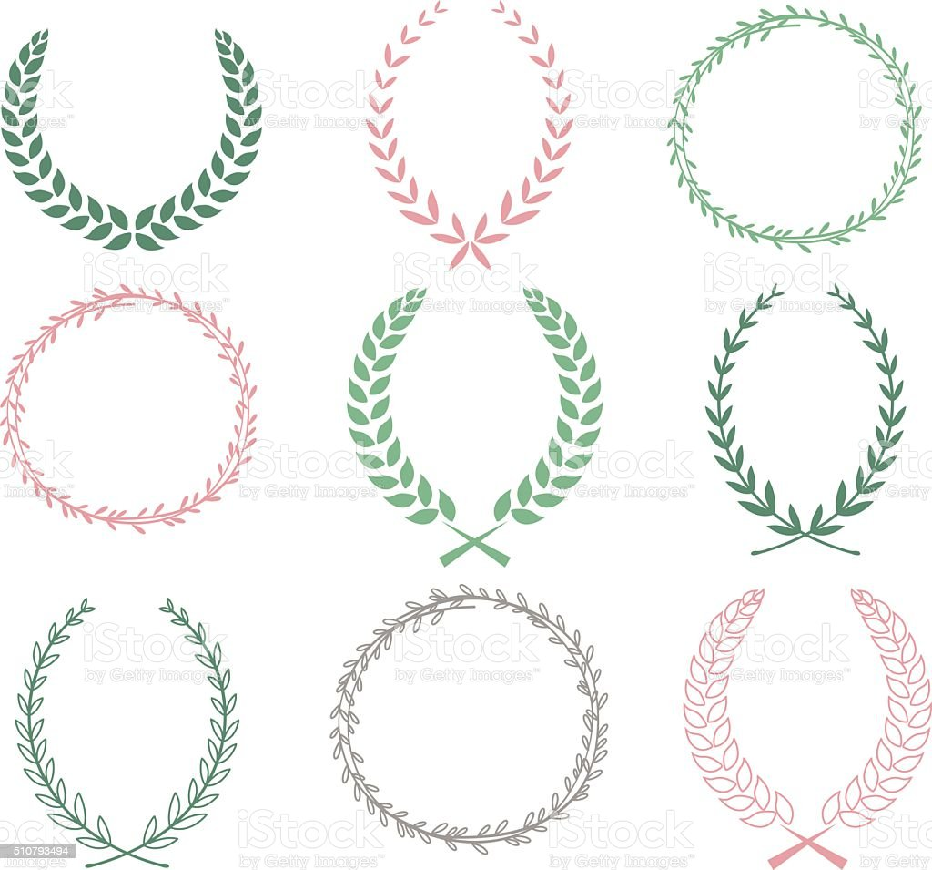 Hand Drawn Laurel Wreaths Collections vector art illustration