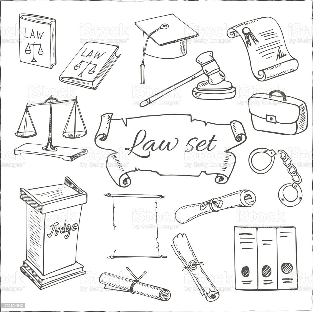 Hand drawn law symbols set vector art illustration