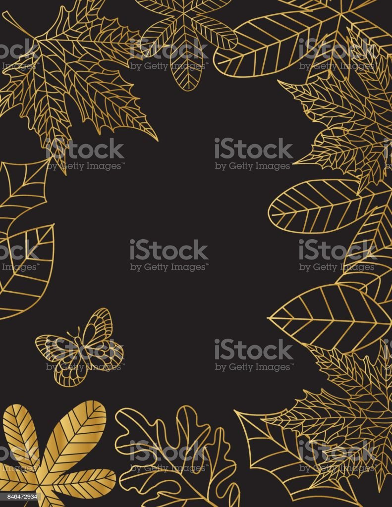 Hand Drawn Leaves Background In Black and Gold vector art illustration