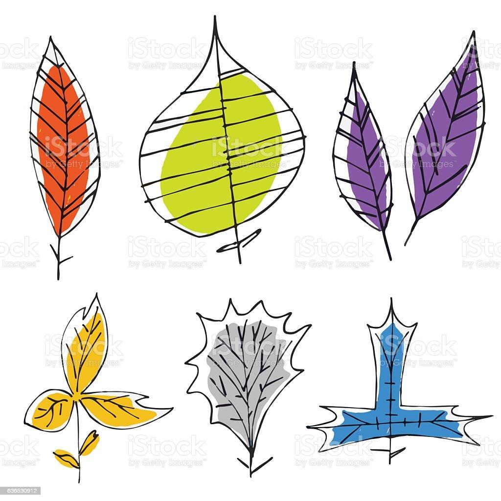 Hand drawn leaves vector art illustration