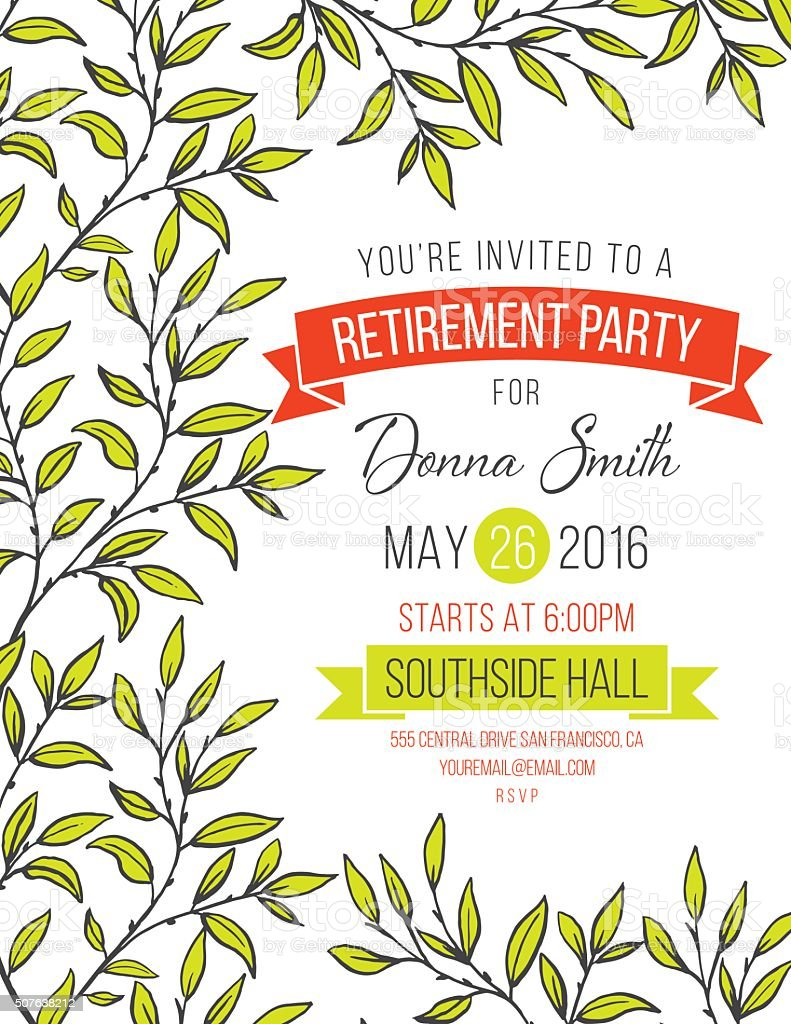 Hand Drawn Leaves Vines Frame Invitation Template vector art illustration