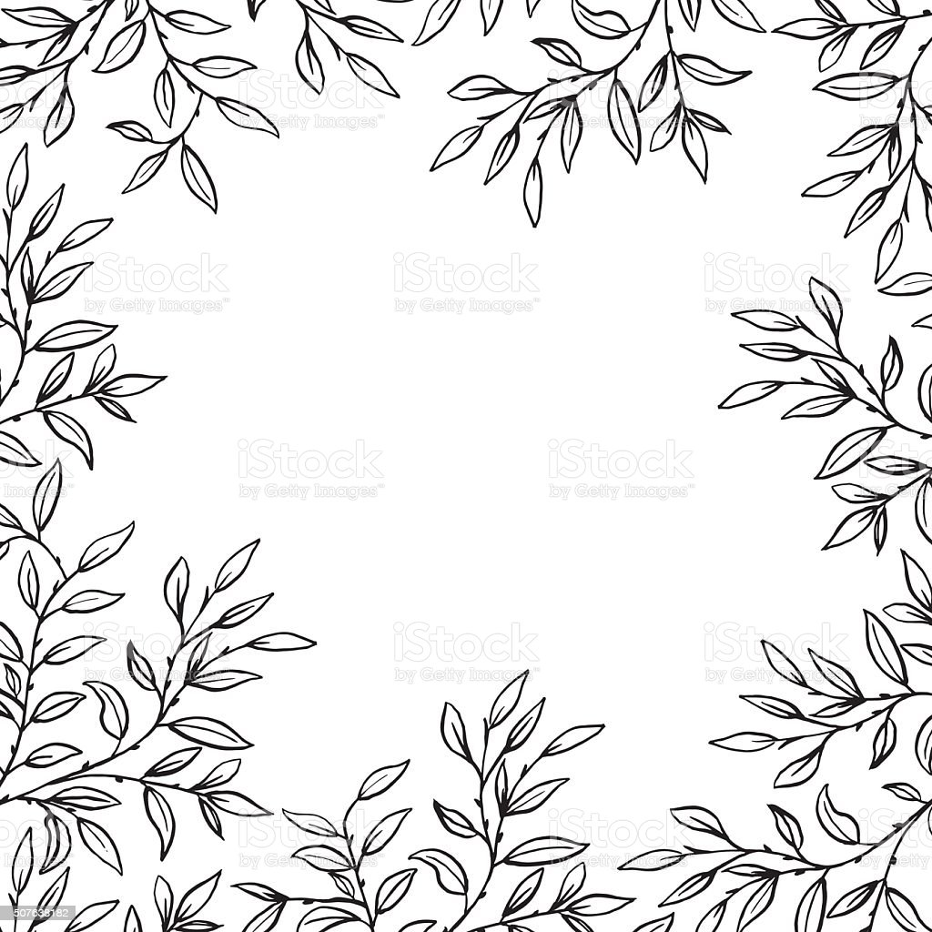 Hand Drawn Leaves Vines Frame vector art illustration