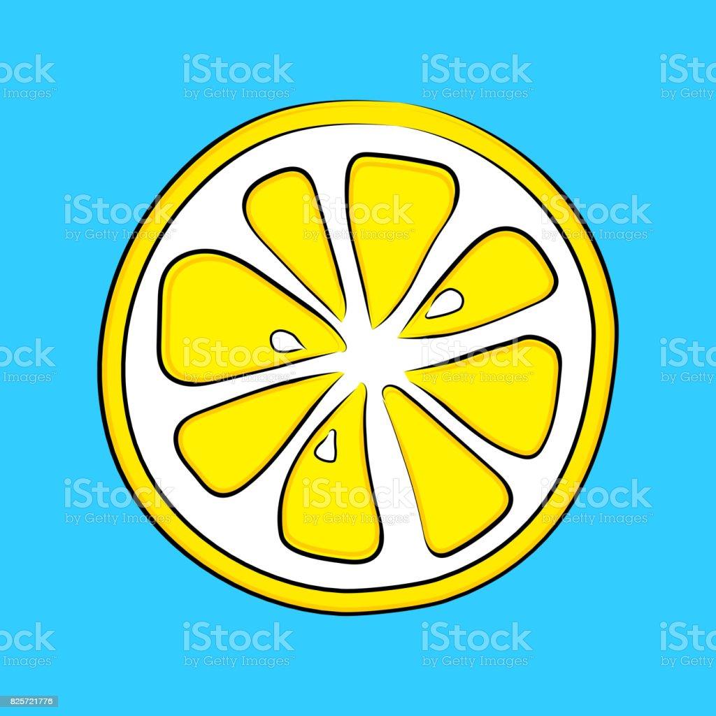 Hand drawn lemon on blue background. Vector. vector art illustration
