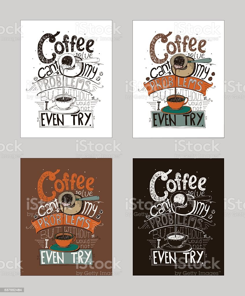 Hand drawn lettering about love to coffee in cezve. vector art illustration