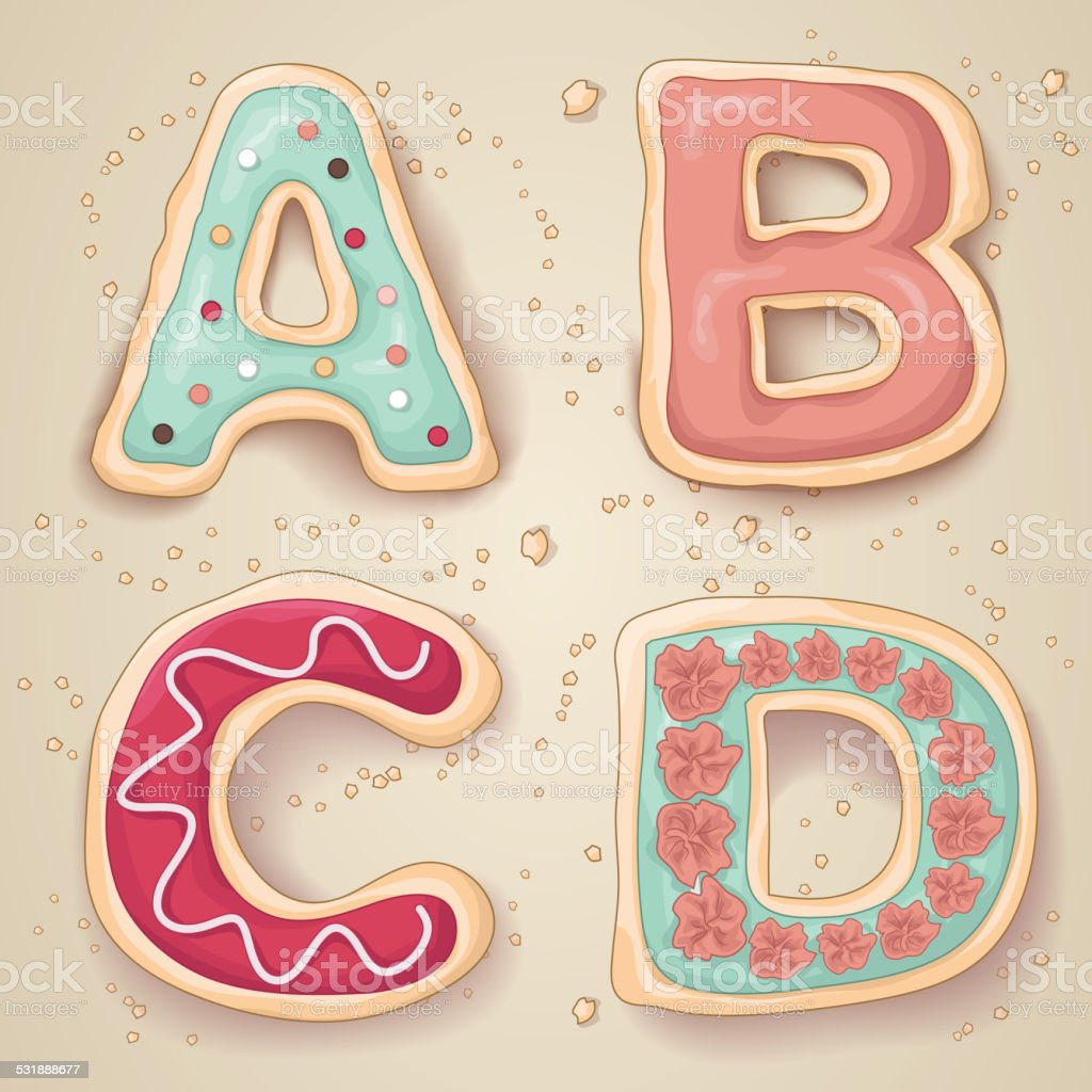Hand drawn letters of the alphabet A through D vector art illustration