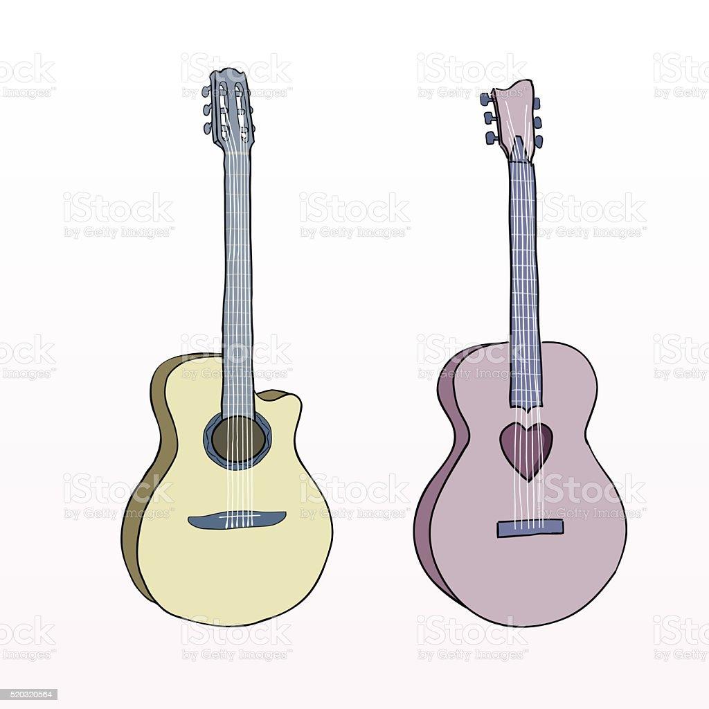 Hand drawn line acoustic classic guitar. Colorful guitar instrument vector art illustration