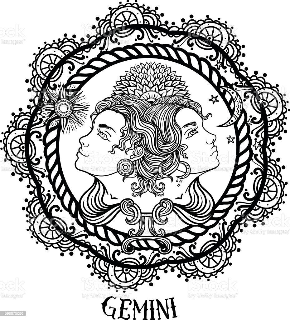 Hand drawn line art of zodiac gemini. Vector vector art illustration