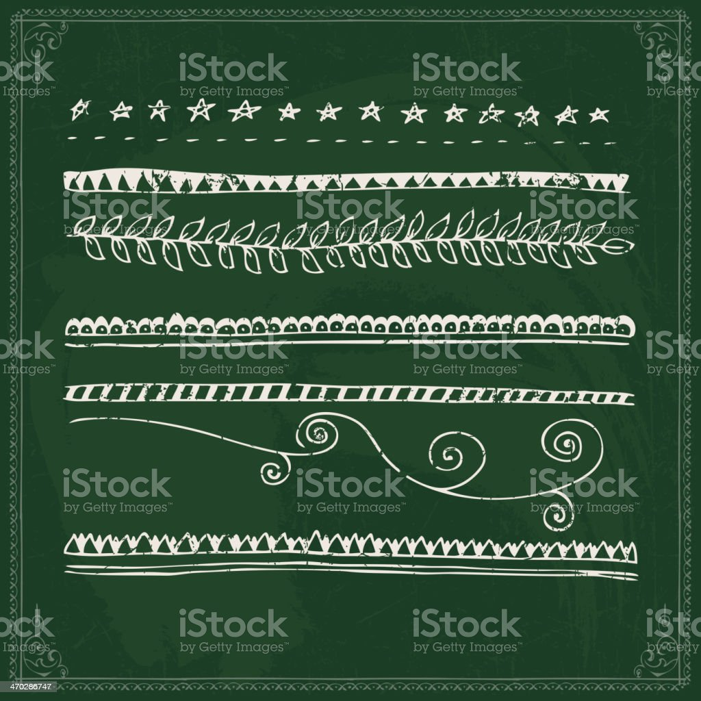 Hand drawn line border set royalty-free stock vector art