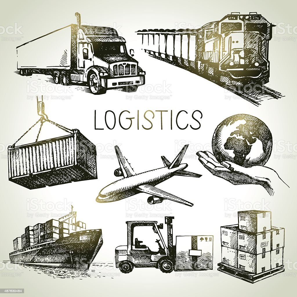 Hand drawn logistics and delivery sketch icons set. Vector illus vector art illustration