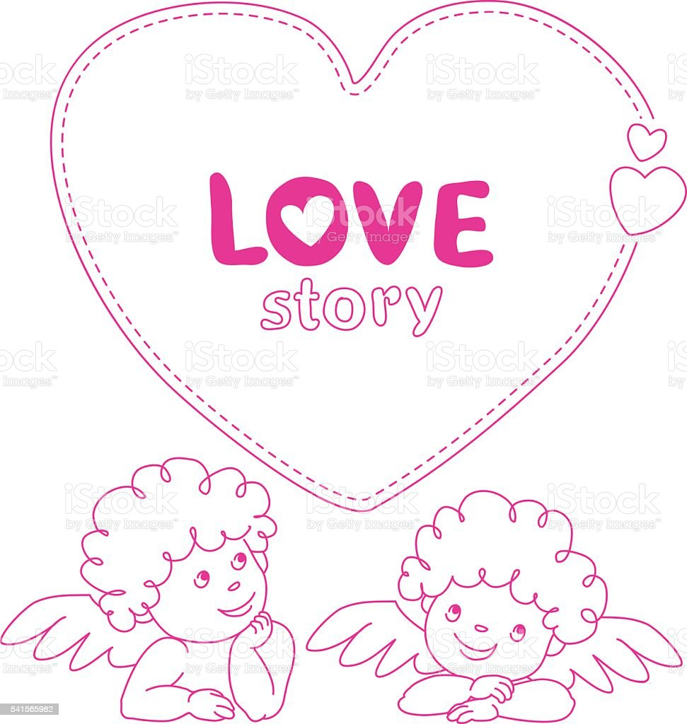 Hand drawn love story quote dashed line boxes width cupid vetor e ilustração royalty-free royalty-free