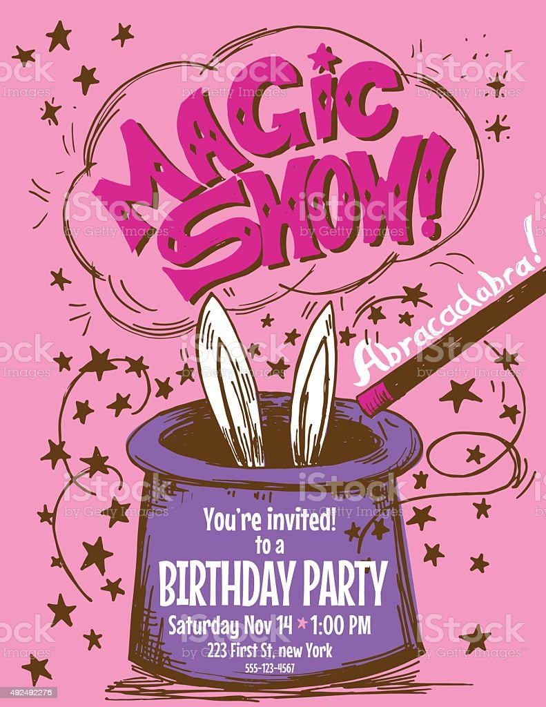 Hand Drawn Magic Show Birthday Party Invitation Template vector art illustration