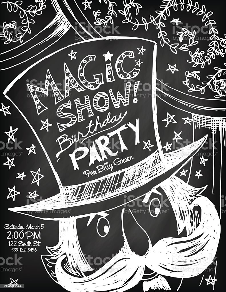Hand Drawn Magic Show Birthday Party Invitation Template vector art illustration