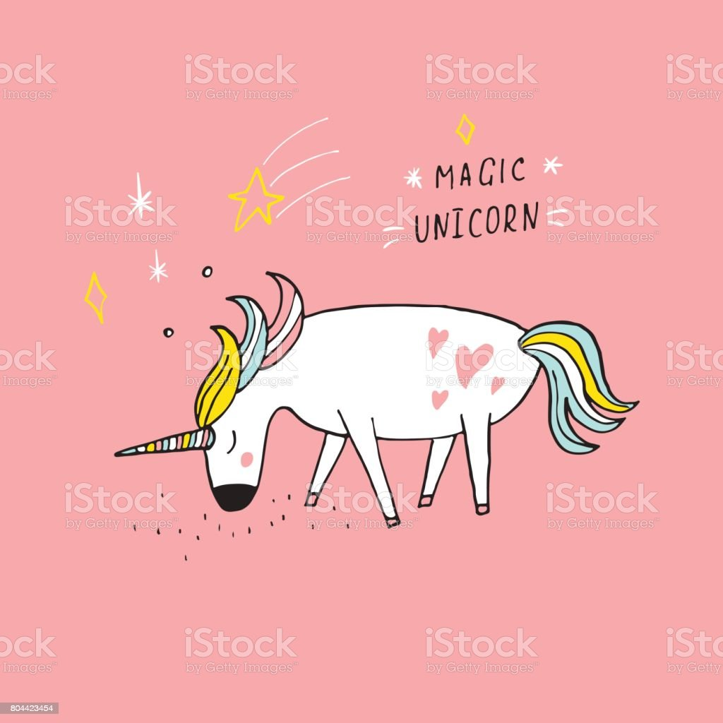 hand drawn magic unicorn illustration and handdrawing lettering