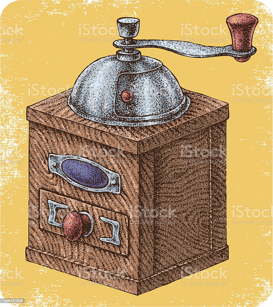 Hand drawn manual coffee grinder. vector art illustration