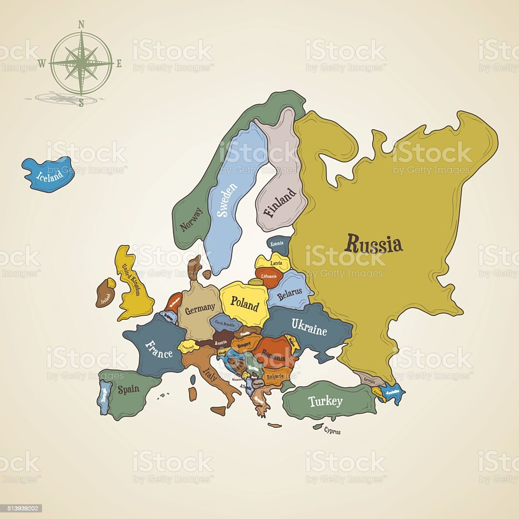 Hand drawn map of Europe vector art illustration