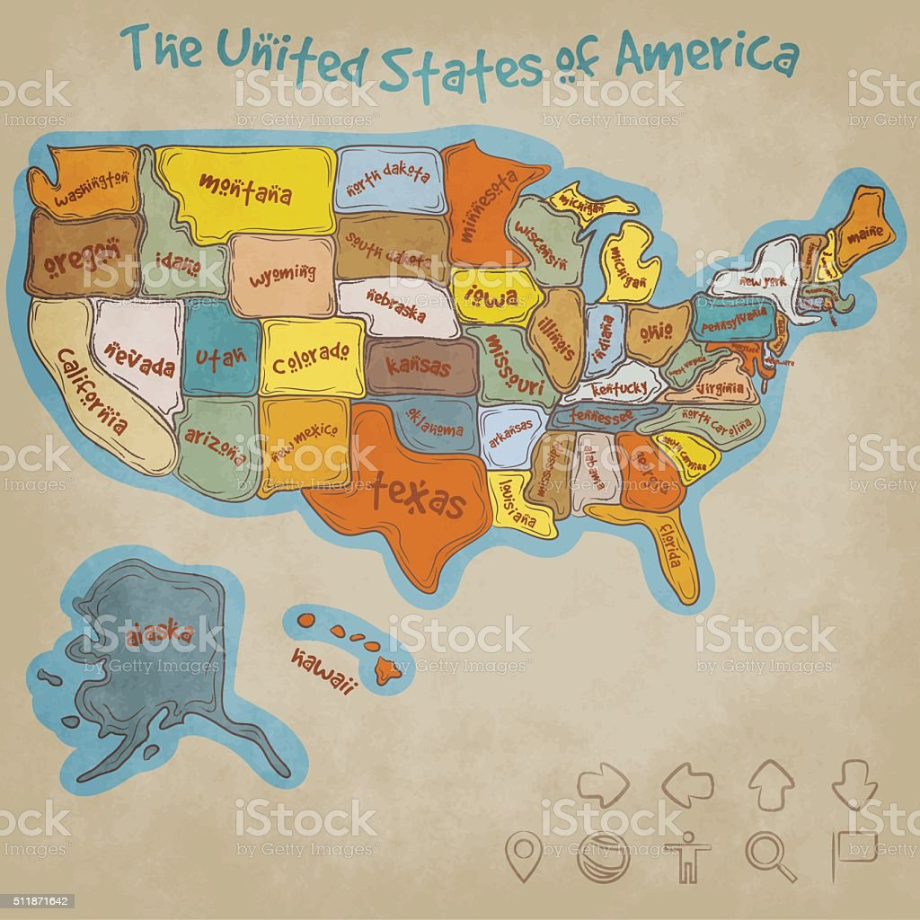 Hand Drawn Map of the United States of America vector art illustration
