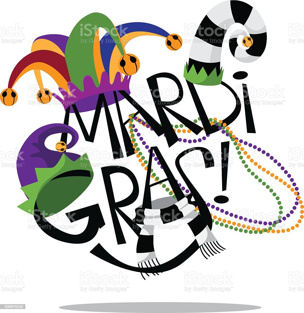 Hand drawn Mardi Gras type with hats and beads vector art illustration
