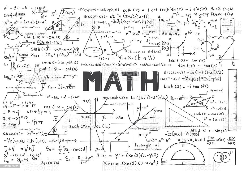 Hand drawn Math formulas for background vector art illustration