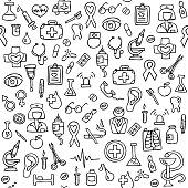 Hand drawn medical seamless pattern.