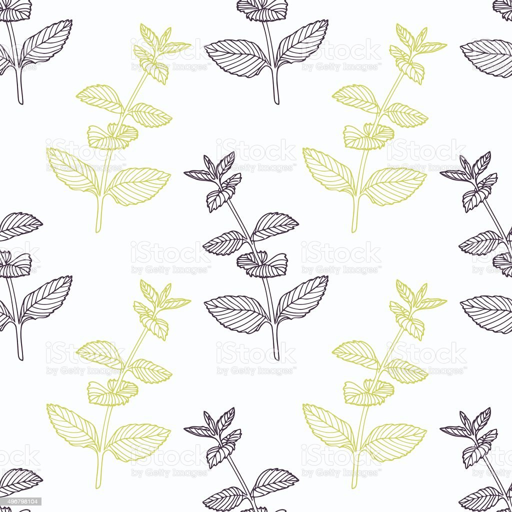 Hand drawn mint branch stylized black and green seamless pattern vector art illustration