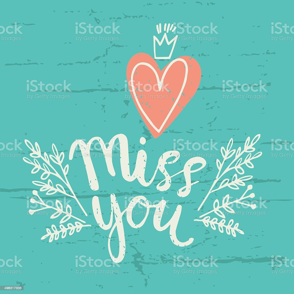 Hand drawn miss you card. vector illustration royalty-free stock vector art