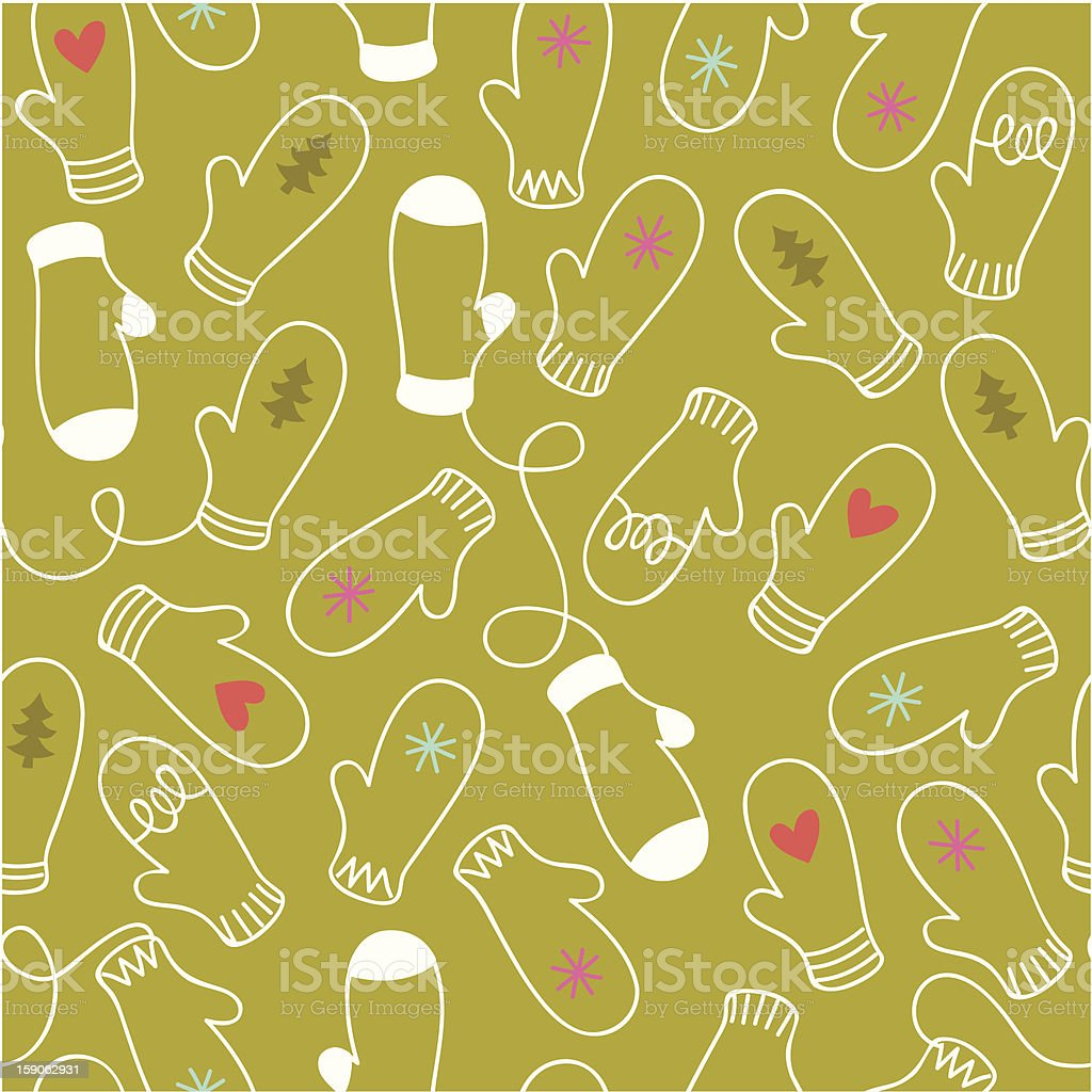 Hand Drawn Mittens Seamless Vector Pattern royalty-free stock vector art