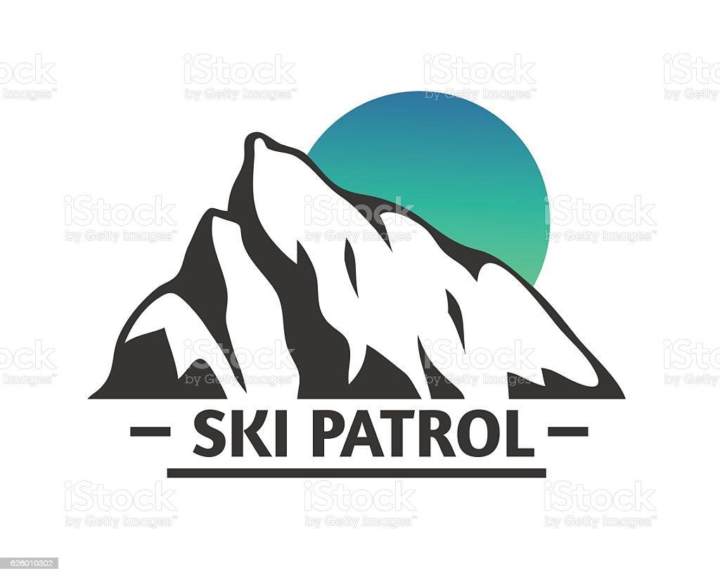 Hand drawn Mountains Logo set. Ski Resort vector icons, mountain vector art illustration