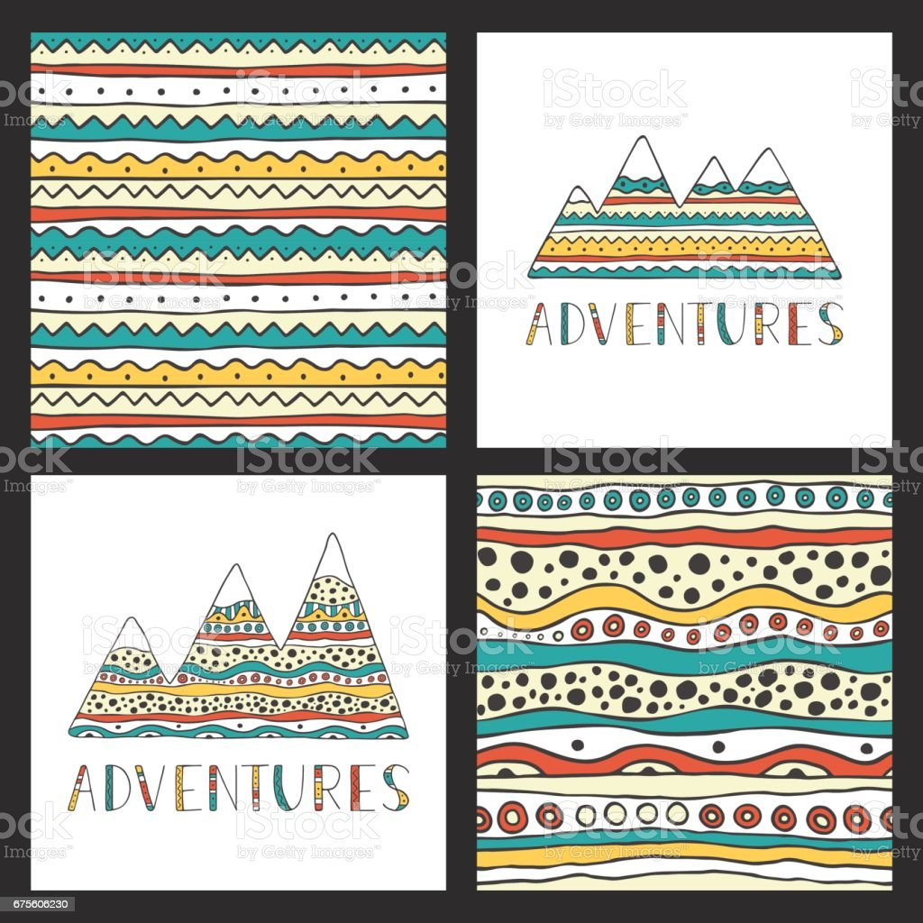 Hand drawn mountains silhouettes with ornamental seamless background and handwritten lettering. Adventure. Set of stylish outdoor cards template. vector art illustration