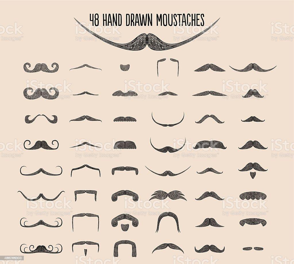 Hand drawn Moustache Styles vector art illustration
