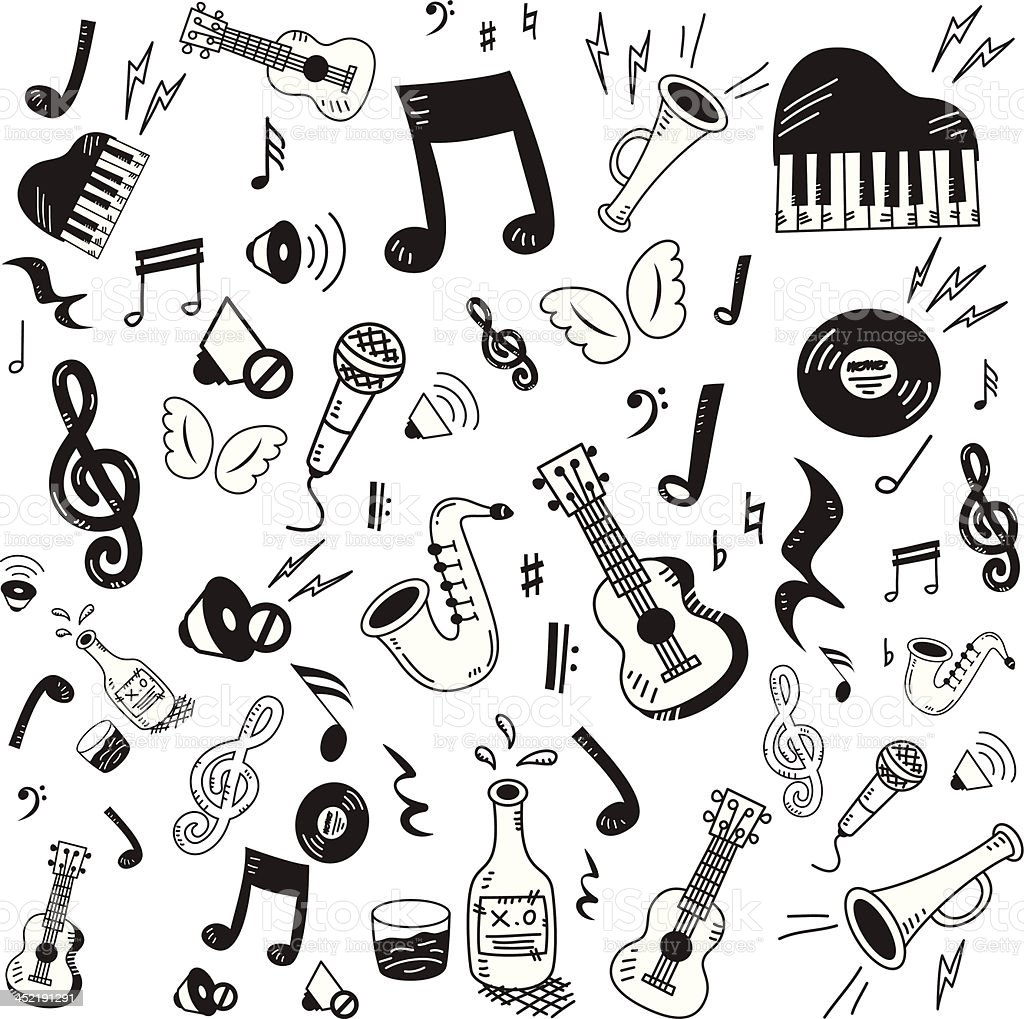 Hand drawn music icon set vector art illustration