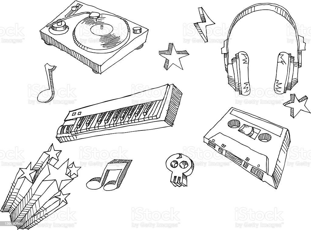 Hand Drawn Music Retro royalty-free stock vector art