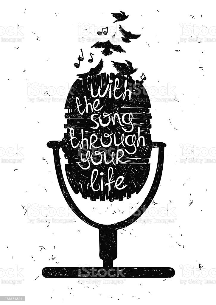 Hand drawn musical illustration with silhouette of microphone. vector art illustration