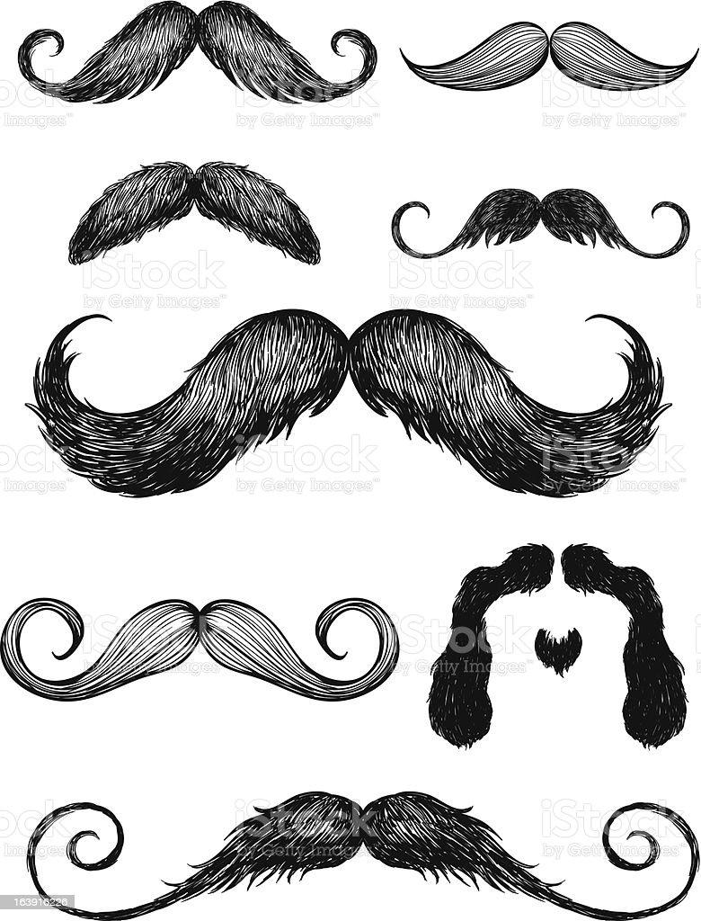 Hand drawn mustache vector set vector art illustration