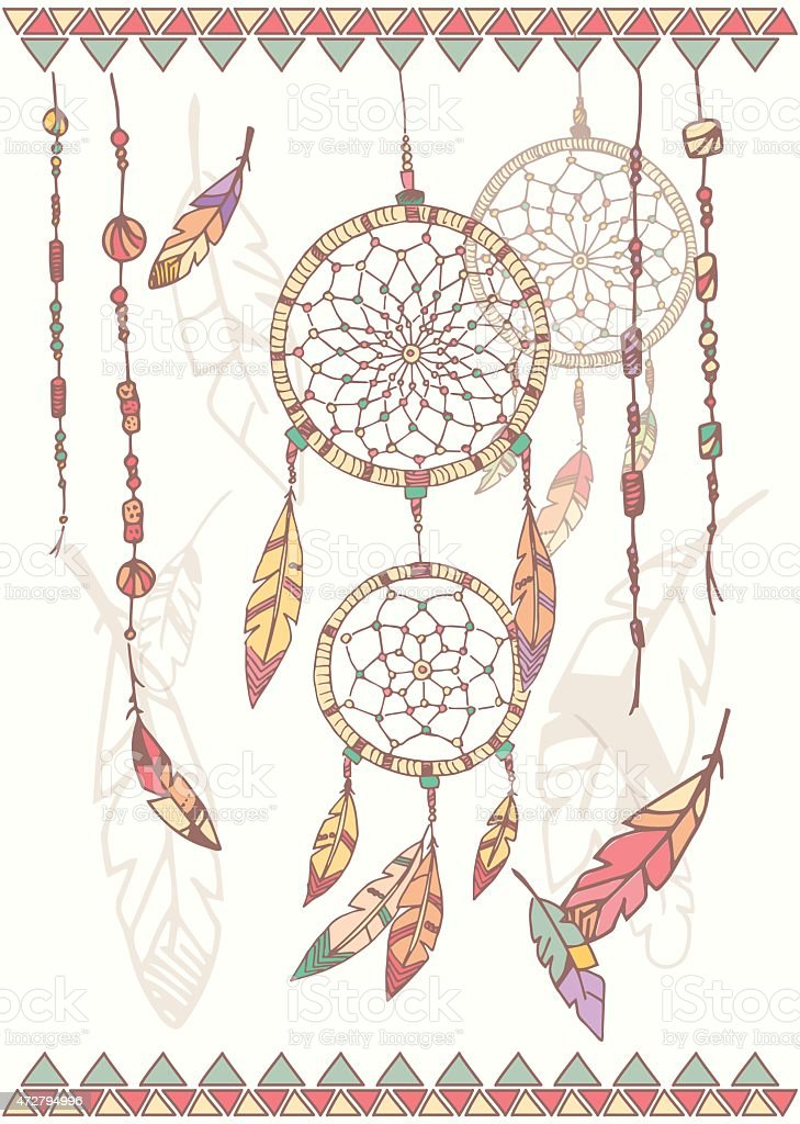 Hand drawn native american dream catcher, beads and feathers vector art illustration