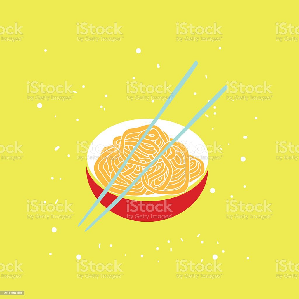 Hand drawn noodles bowl with chopsticks Colorful banner Asian cuisine vector art illustration