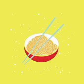 Hand drawn noodles bowl with chopsticks Colorful banner Asian cuisine