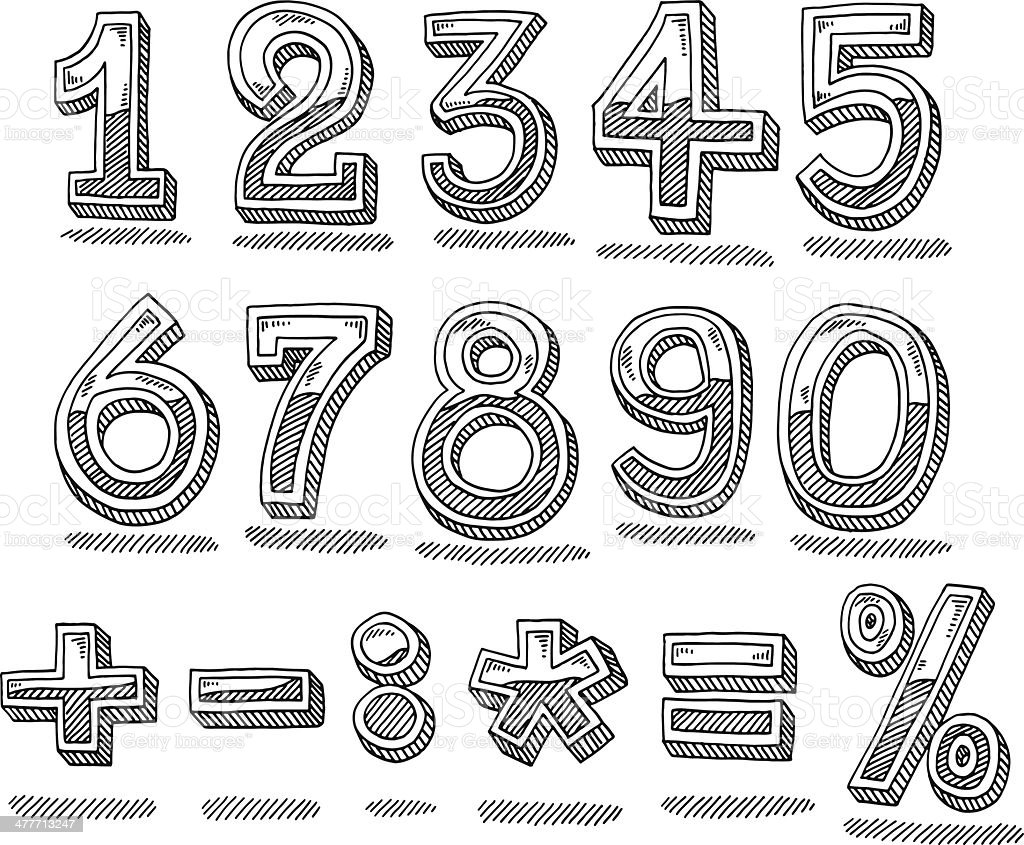 Hand Drawn Numbers Chrome Set vector art illustration