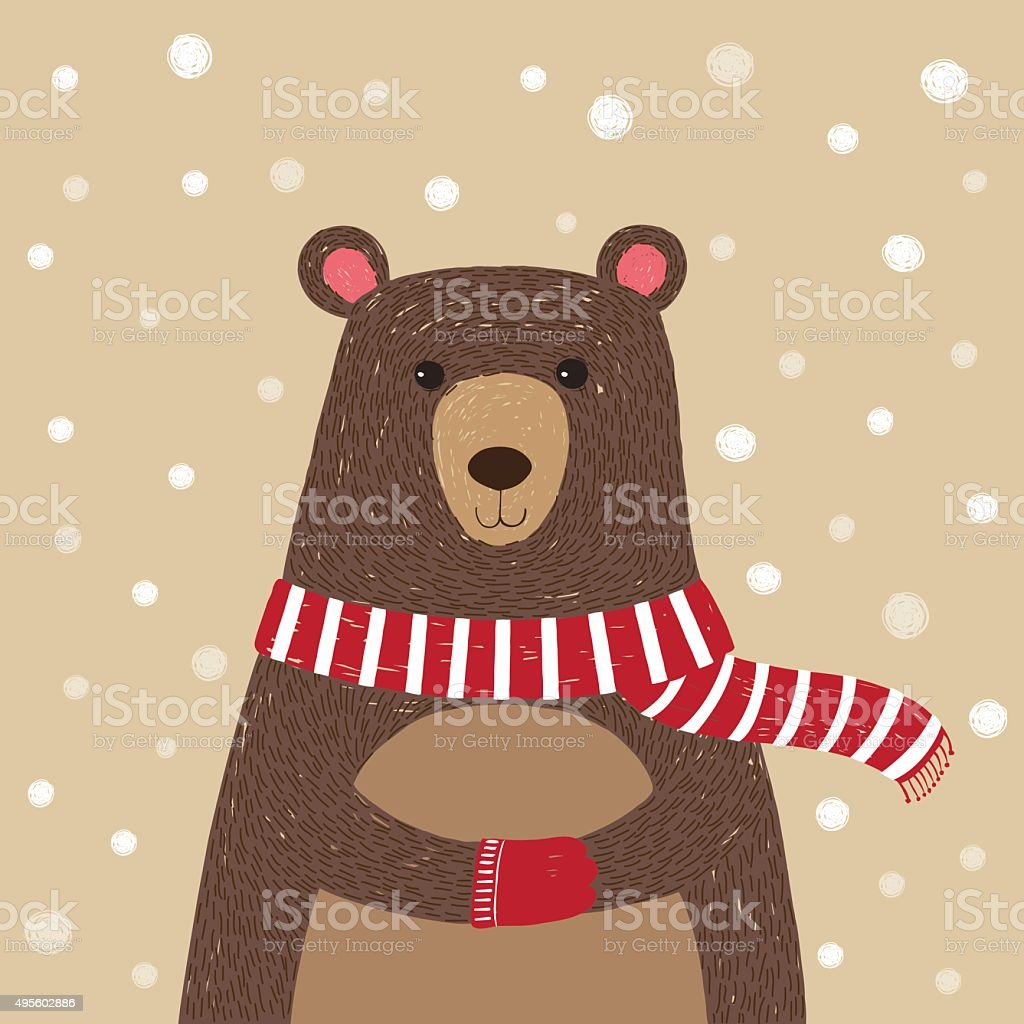 Hand drawn of cute bear wearing red scarf vector art illustration