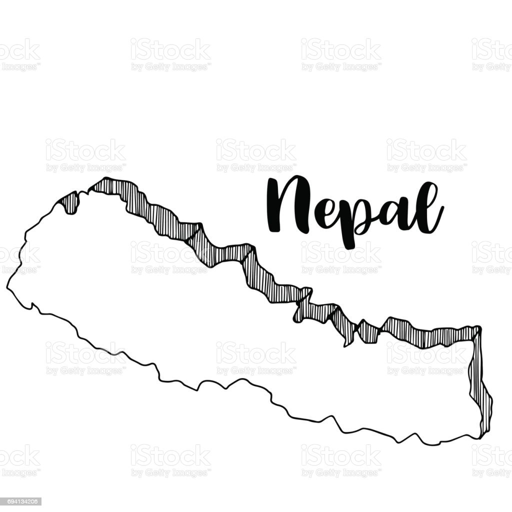 Hand drawn  of  Nepal map, vector  illustration vector art illustration