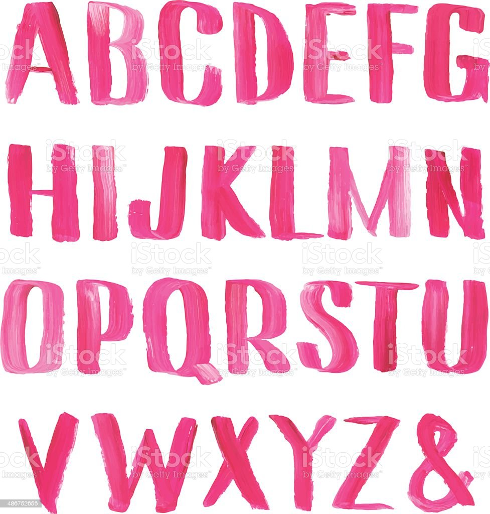 Hand drawn oil painting font. vector art illustration
