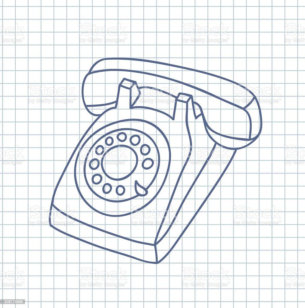 Hand drawn old telephone. vector art illustration