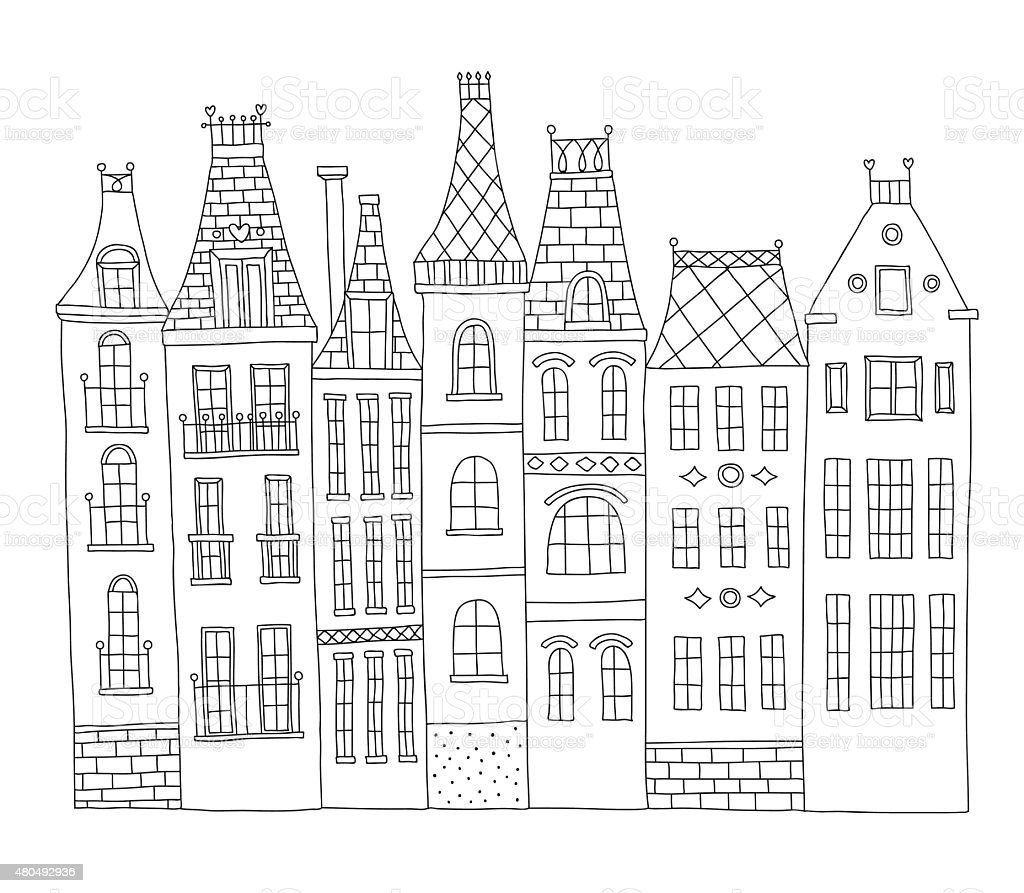 Hand drawn old town houses architecture vector art illustration