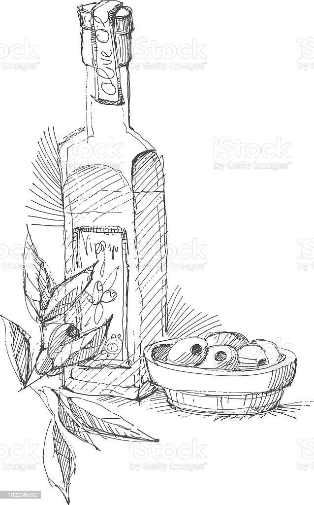 Hand drawn olive oil bottle and olives vector art illustration