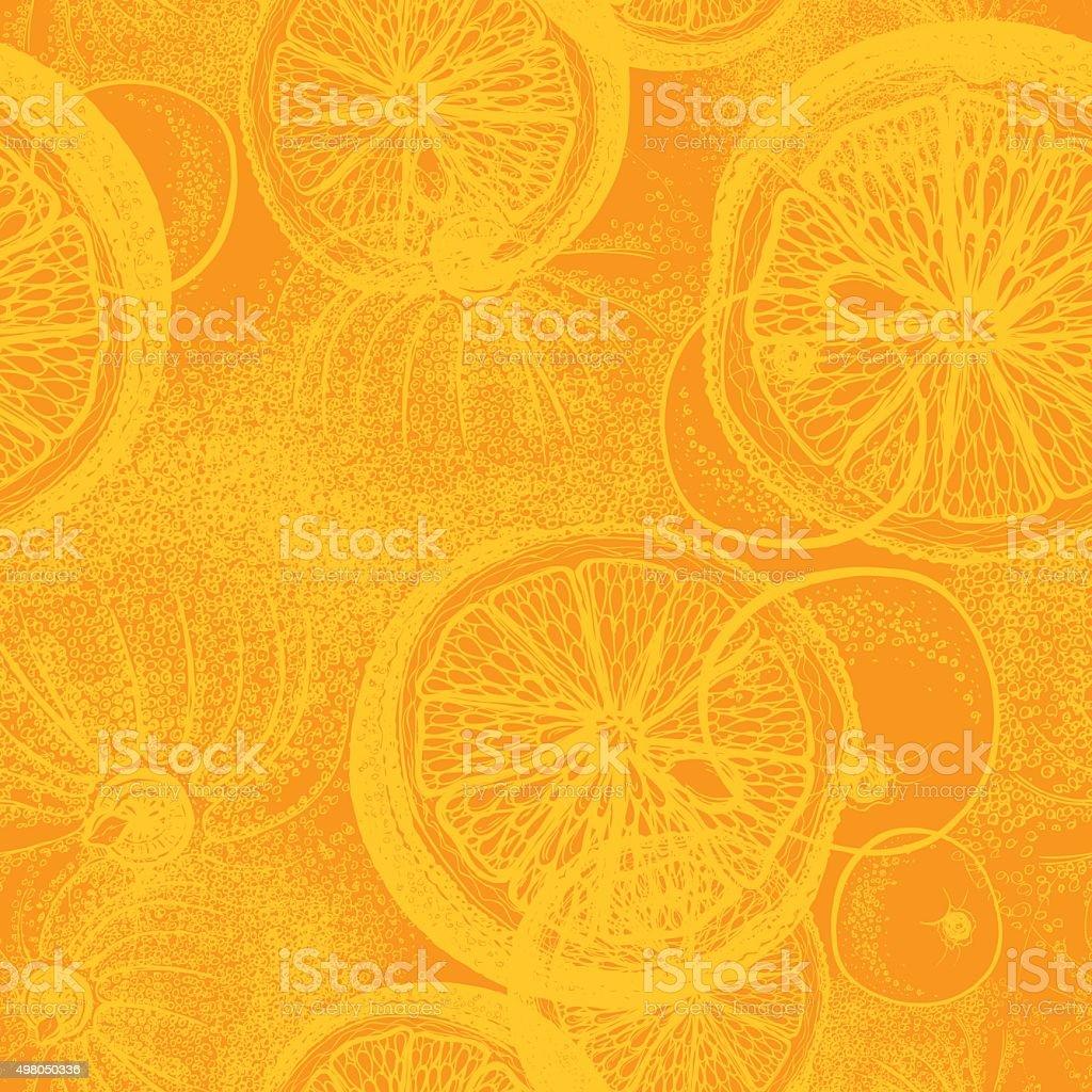 Hand drawn orange or lemon citrus fruit. vector art illustration