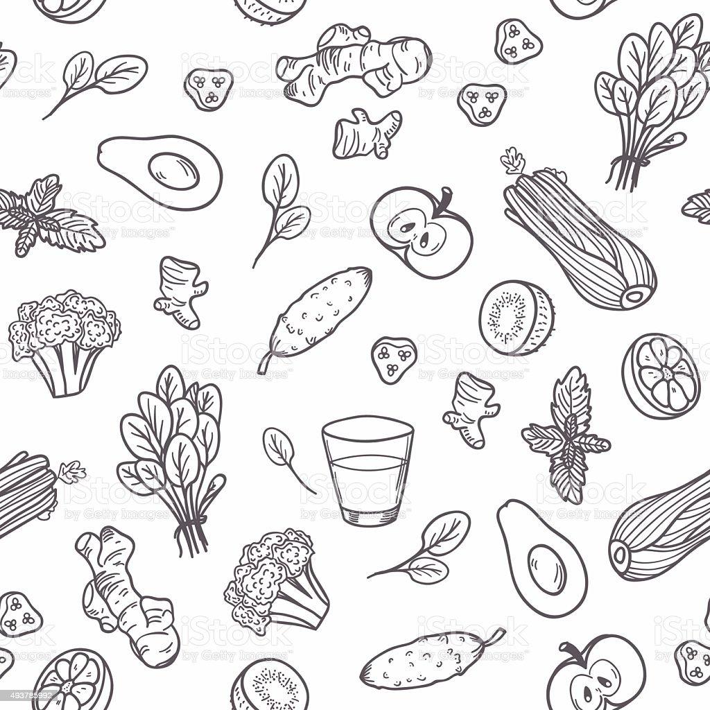 Hand drawn outline vegetables seamless pattern. Healthy eating background vector art illustration